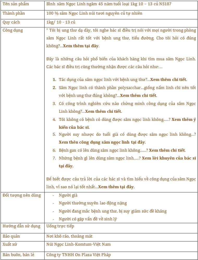 Bình sâm Ngọc Linh 45 năm tuổi loại 1kg 10 – 13 củ  1