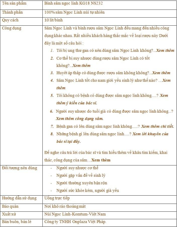 Bình Sâm Ngọc Linh KG18 10L 1