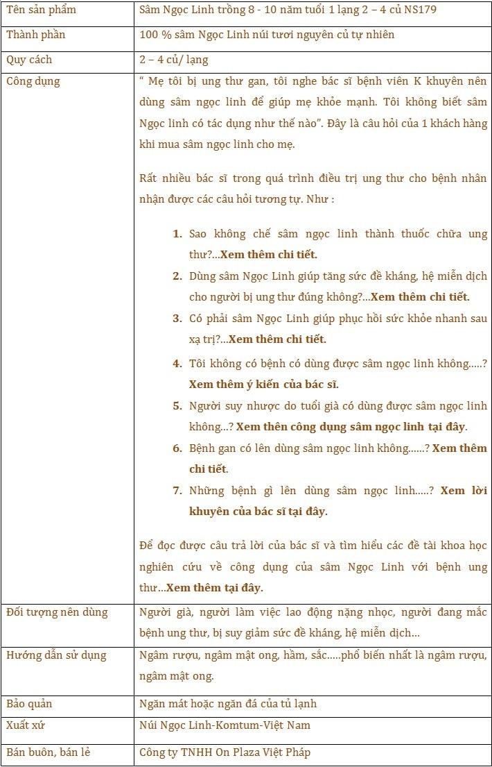 TTSP Sâm ngọc linh 8-10 năm tuổi 1 lạng 2-4 củ