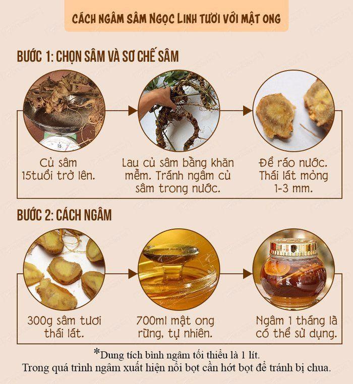 Cách ngâm sâm Ngọc Linh với mật ong