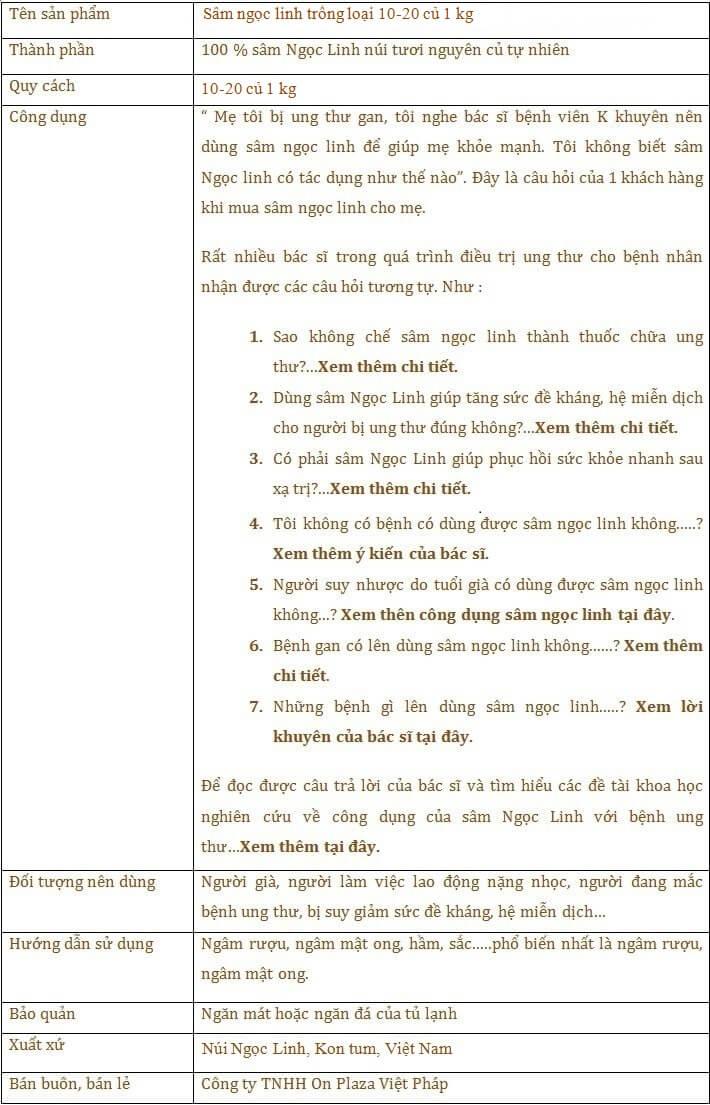 ttsp Sâm Ngọc Linh trồng chất lượng cao loại 10 - 20 củ/1 kg