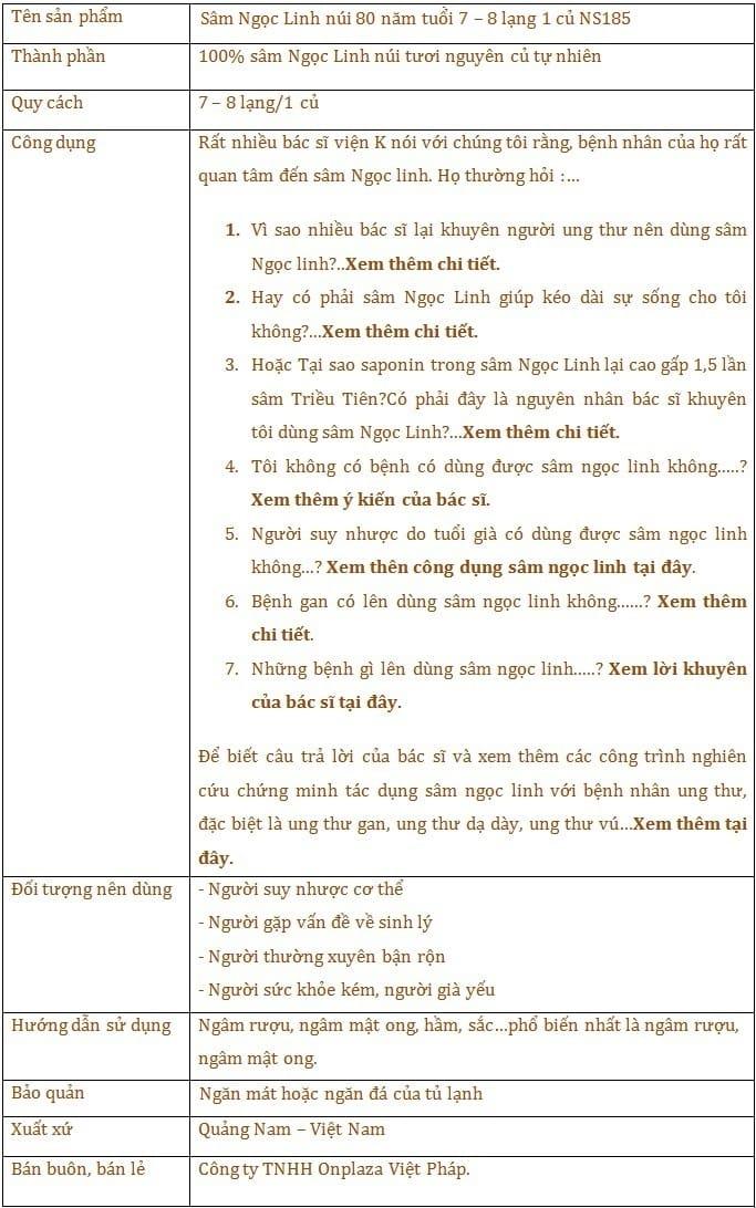 Sâm Ngọc Linh núi 80 năm tuổi 7–8 lạng 1 củ 1