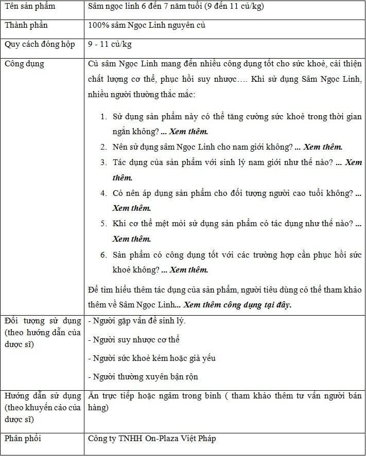 ttsp Sâm Ngọc Linh 6 đến 7 năm tuổi 1 củ 1 củ/ 1 lạng 5