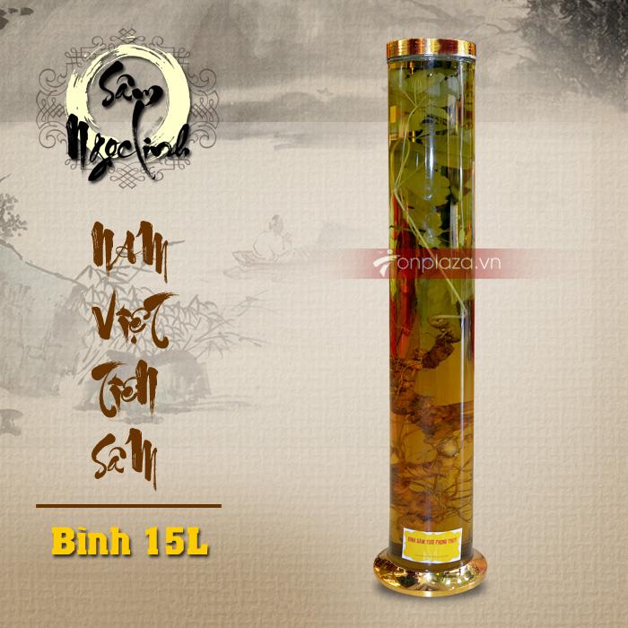 Bình sâm Ngọc Linh dáng trụ dài loại 15L chất lượng cao NS400