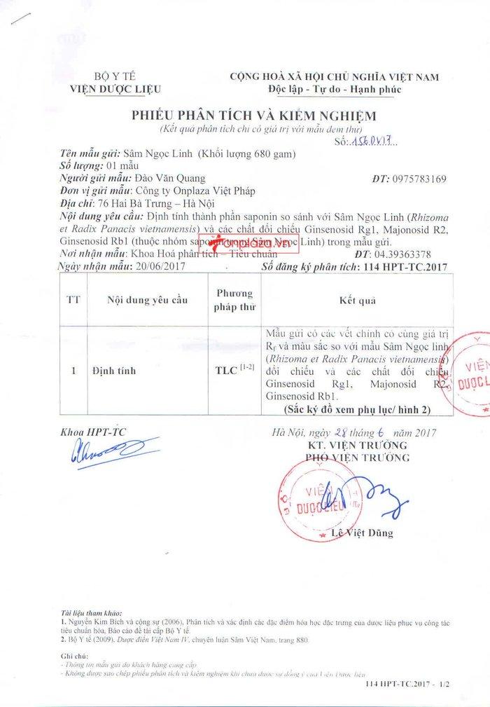 Kết quả kiểm nghiệm sâm  ngọc linh của onplaza Việt Pháp 1