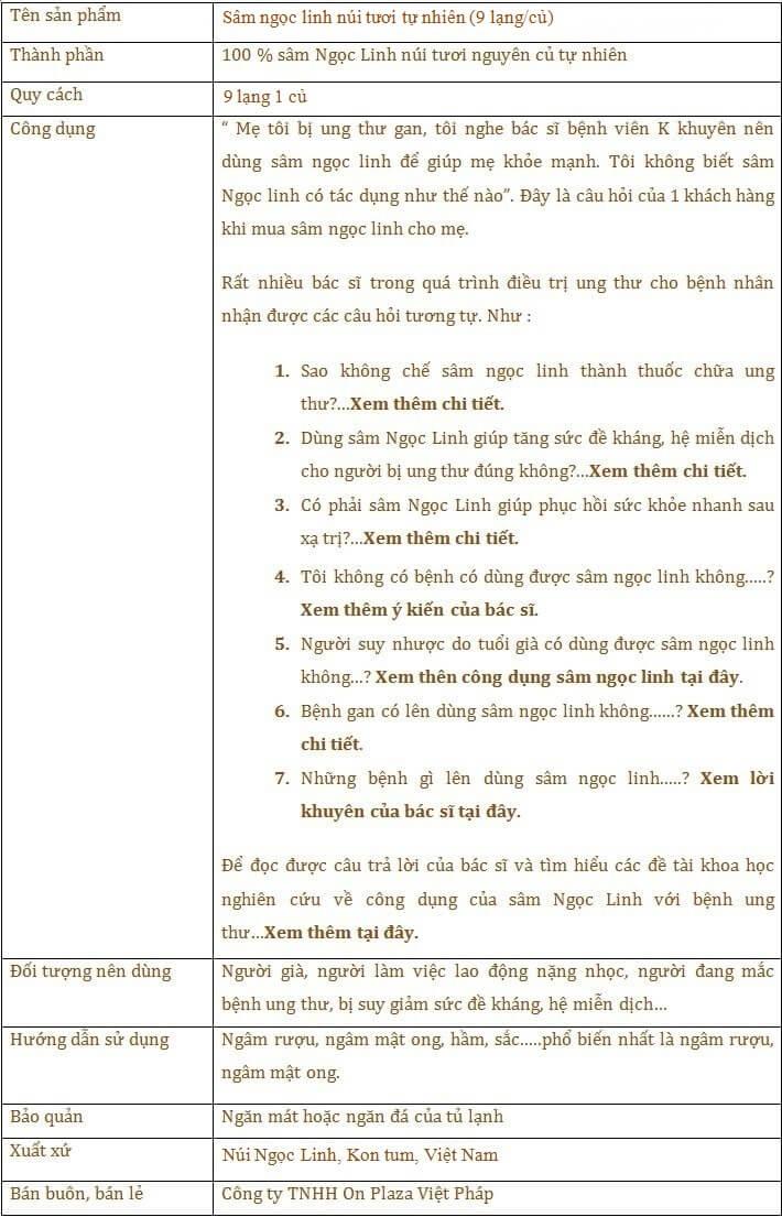 ttsp Sâm Ngọc Linh núi thượng hạng loại 9 lạng/củ