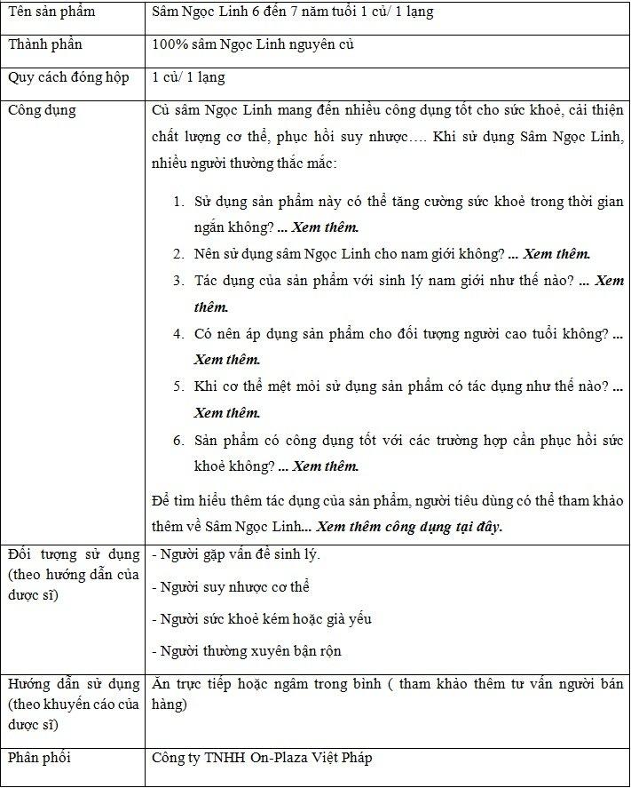 Sâm Ngọc Linh 6 đến 7 năm tuổi 1 củ/ 1 lạng