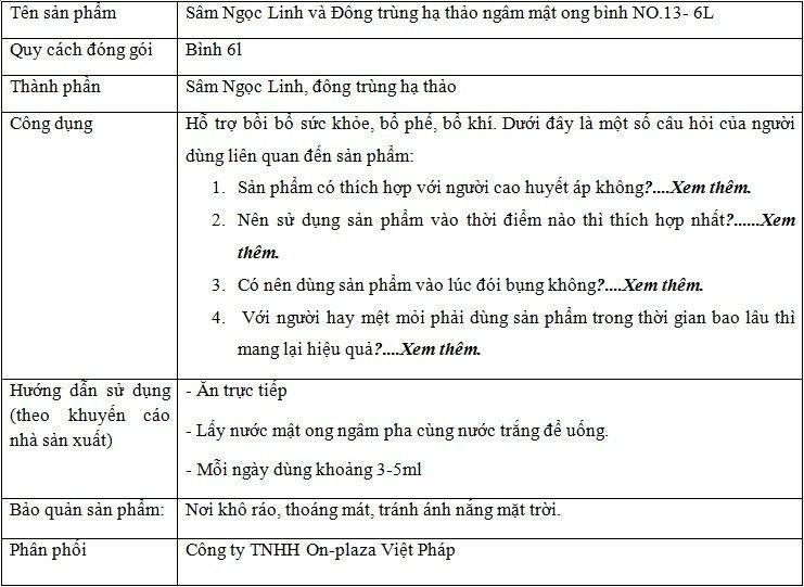 ttsp Sâm Ngọc Linh và Đông trùng hạ thảo ngâm mật ong bình NO.13- 6L NS671